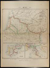 Carte des chemins de Fer, 1862. Compagnie du Midi. Espagne, Italie. Pyrénées
