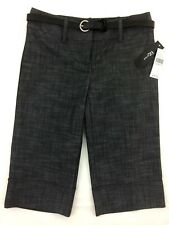 iZ Byer Black Cropped Pants Size 1 Career Cuffed Bermuda Dress Shorts Belt