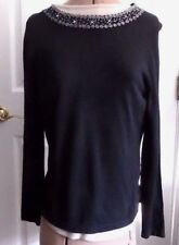 Croft & Barrow Beaded Black Rayon Blend Long Sleeve Sweater - M  New with Tags