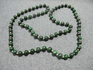 Vintage coated marbled green pottery? tiny goldtone beaded necklace