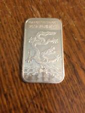 2012 Year of the Dragon 1 Troy Ounce .999 Fine Silver Lunar Year Art Bar