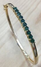 1.6ctw GENUINE EMERALD 18K GOLD VERMEIL BANGLE NEW