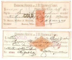 2 Antique Bank Checks J.B.Brown Banking House Portland Maine GOLD Pre paid Tax