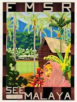 TRAVEL MALAYA FAR EAST NATIVE JUNGLE HUT HOUSE TREE PALM POSTERPRINT BB7563B