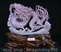 "12,8"" Chine Rose Xiu Jade Jadéite Feng Shui Zodiac Animal Dragon Chanceux Statue"