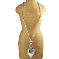 Large silver plated hollow chunky heart hammered pendant & bead long necklace