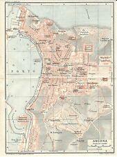 Carta geografica antica ANCONA Pianta della città TCI 1924 Antique map