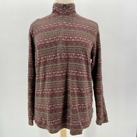 Woolrich Brown & Purple Partial Zip Long Sleeve Shirt Women's Size XL