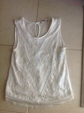 USED Forever 21 Ladies Women White Beaded Sleeveless Vest Top Size Small