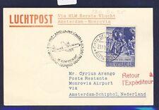 46777) KLM FF Amsterdam - Monrovia Liberia 5.11.60, Karte ab Vatikan R!