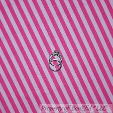 BonEful Fabric FQ Cotton Quilt Pink Girl Hot Bright Light Stripe 1/4 Clown Shade