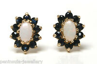 9ct Gold Opal and Sapphire cluster Stud Earrings Gift boxed Made in UK Christmas