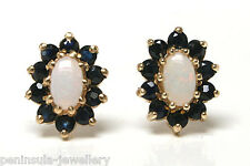 9ct Gold Opal and Sapphire cluster Stud Earrings Gift boxed Made in UK