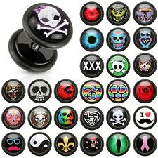 Black Acrylic Fake Plugs with Clear Epoxy Dome Print Inlay Mustache Shades Pair