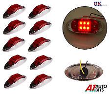 10x 12/24V LED Side Chrome Bezel Marker Red Lights Lamps TRUCK LORRY TRAILER BUS