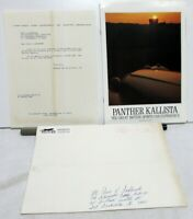 1986 Panther Kallista Dealer Sales Literature Set Brochure Folder Price Sheet