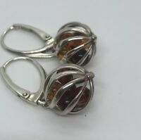 Vintage Sterling Silver Earrings 925 Bead Caged Baltic Amber Cage Cabochon