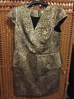 PHILIP ARMSTRONG, CATALAN, GOLD & SILVER PEPLUM DRESS, SIZE 18, BNWT, PLUS SIZE