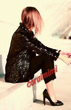 Zara BLACK GOLD SEQUIN OPEN BLAZER COAT SIZE S