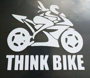 1x Think Bike Girly Girl Car Van Vinyl Sticker Graphic Window Motorbike 5inWhite