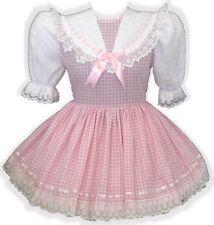 """Kendra"" Custom Fit PINK GINGHAM & Eyelet Adult LG Baby Sissy Dress LEANNE"
