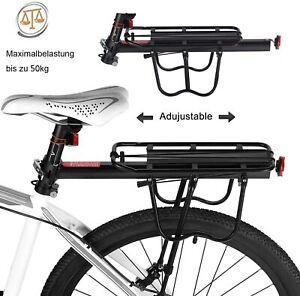 Alu Universal Fahrrad MTB Gepäckträger Set Verstellbar Mountainbike 25kg Schwarz