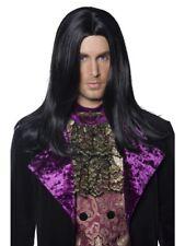 Vampiro Gotico UOMO PARRUCCA CONTE NERO HALLOWEEN