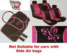13PC Estilo Mariposa Rosa Bordada conjunto completo de cubierta de asiento de coche + Tapetes