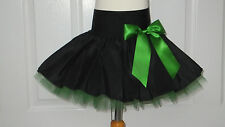 HANDMADE GIRLS BLACK EMERALD GREEN TUTU MINI SKIRT IRISH DANCE SCHOOL 6- 8 YR