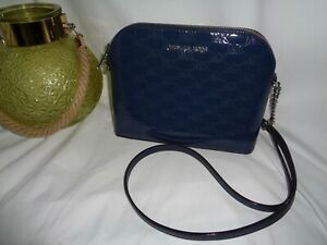 Michael Kors Cindy Large Dome Crossbody Handbag Navy MK Embossed Patent Leather