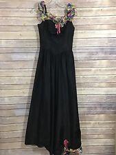 Vintage 1940's Rainbow Plaid Ruffle detail Black Taffeta Dress, GUC* V8