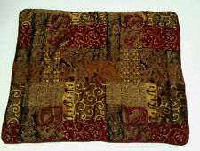 Croscill Galleria Red Gold Brown Patchwork Jacquard Standard Pillow Sham Corded