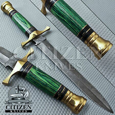 BEAUTIFUL CUSTOM HAND MADE DAMASCUS STEEL DAGGER KNIFE HANDLE PAKKA WOOD