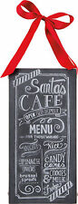 "Primitives by Kathy Santa's Cafe Chalk Menu Box Sign 12"" T"