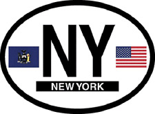 NEW YORK STATE OVAL REFELCTIVE LAMINATED CAR STICKER NEW