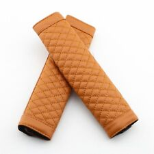 Brown Pair Vehicle Parts Safe Seat Belt Cover Shoulder Relax Leather Protectors