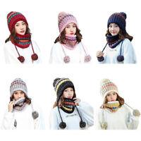 Fashion Women Scarf Hat Set Winter Warm Neck Guard Fleece Lined Knitted Caps US