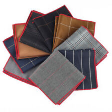 9 Pack Men Silk Blend Pocket Square Handkerchief Wedding Rolled Edge New