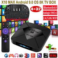 NEW X10 MAX 8K 4+32G Android 9.0 5.8G WIFI BT TV BOX Keyboard HDMI2.0 3D USB3.0