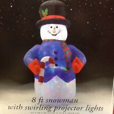 8' INFLATABLE SNOWMAN WITH SWIRLING PROJECTOR LIGHTS  HOLIDAY CHRISTMAS DECOR