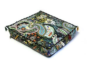 "20"" Paisley Square Kantha Cushion Cover Floor Pillow Cushion Covers Indian"