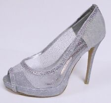 FRENCH KISS WOMEN'S PEEP TOE PUMPS SPARKLE SPARKLY MESH HIGH HEEL SHOES