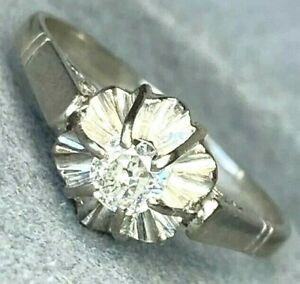 Platinum Diamond Halo 0.20ct Solitaire Vintage Engagement Ring Size 7.75