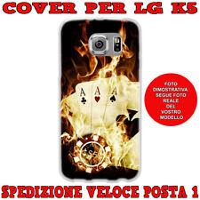 CUSTODIA COVER GOMMA IN TPU SILICONE PER LG K5 X220 FANTASIA POKER D'ASSI