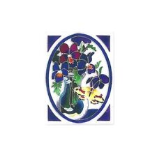 Joan Baker Designs Watercut Tile BUTTERFLY & VIOLETS Painted Glass Wall / Table