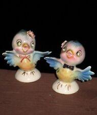 VTG- Japan *BLUE BIRD SALT & PEPPER SHAKERS W/ RHINESTONE EYES* Ceramic Figurine