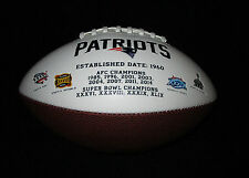 NEW ENGLAND PATRIOTS RAWLINGS NFL FOTOBALL WHITE PANEL AUTOGRAPH MODEL FOOTBALL