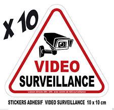 camera VIDEO surveillance  Lot 10 adhesifs stickers ALARME  FORMAT 10 X 10
