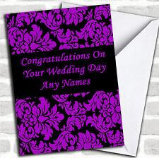Viola Nero Floreale damascato WEDDING DAY Personalizzata Carta