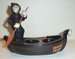 Boney Bunch Grim Reaper Dead & Ferried Boat Tea Light Holder 2012 Yankee Candle